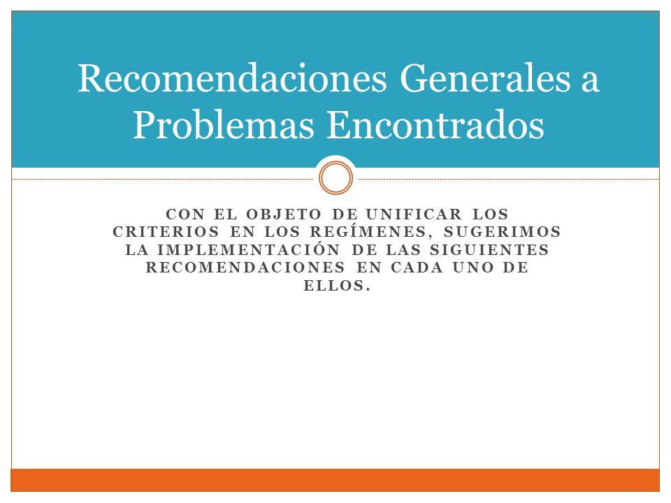 Recomendaciones Generales a Problemas Encontrados