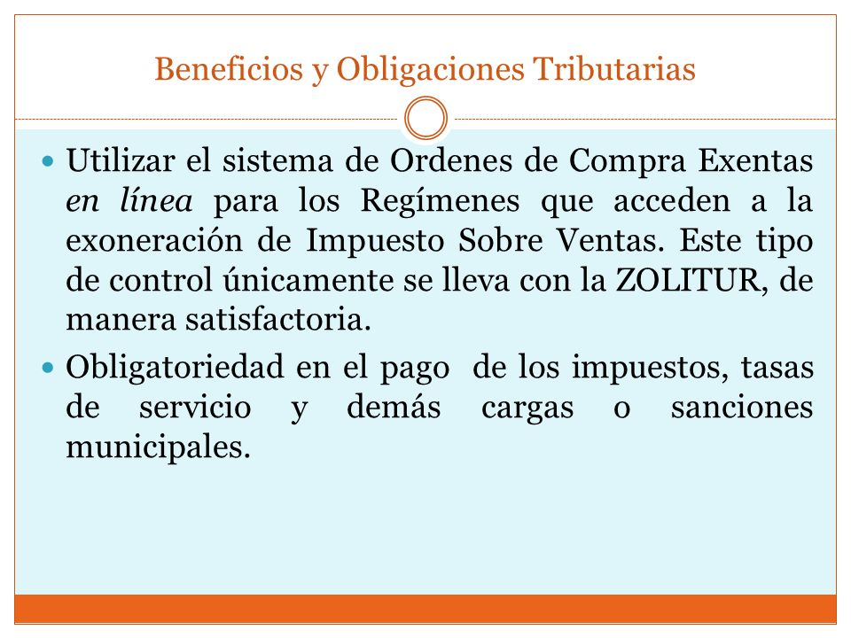 Beneficios y Obligaciones Tributarias