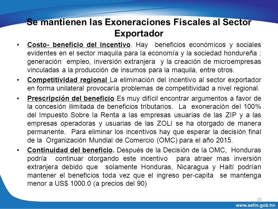 Se mantienen las Exoneraciones Fiscales al Sector Exportador