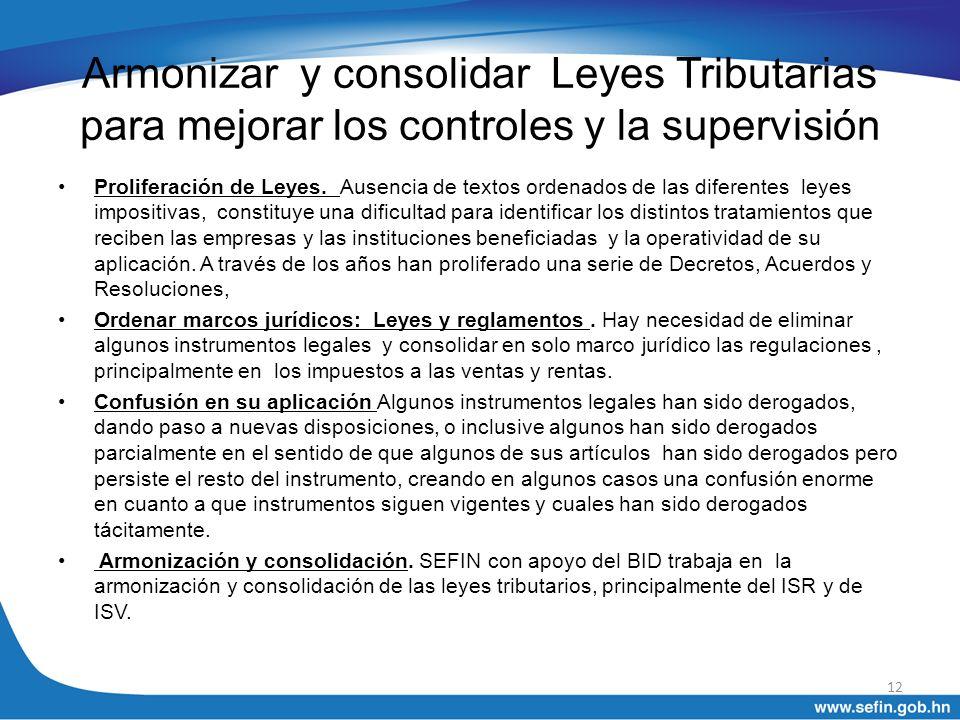 Armonizar y consolidar Leyes Tributarias para mejorar los controles y la supervisión