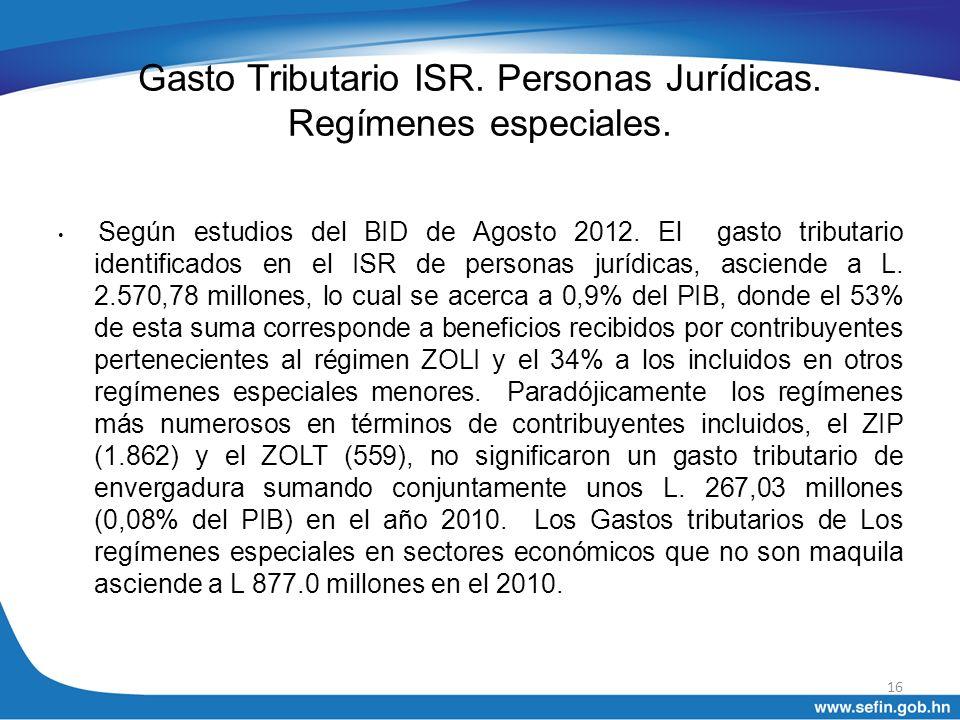 Gasto Tributario ISR. Personas Jurídicas. Regímenes especiales.