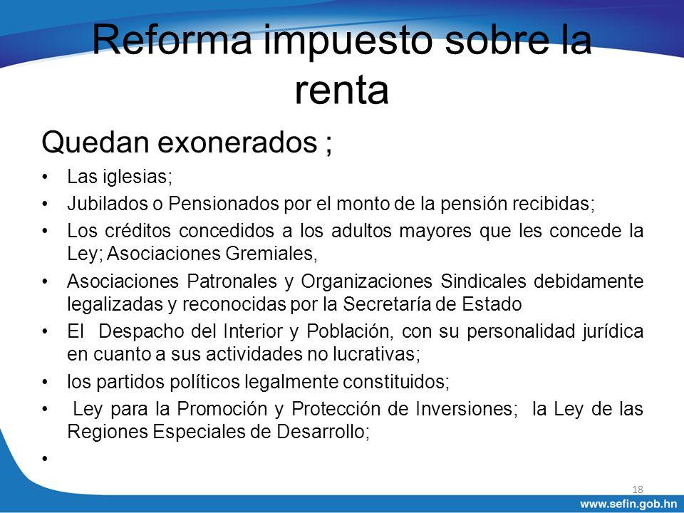 Reforma impuesto sobre la renta