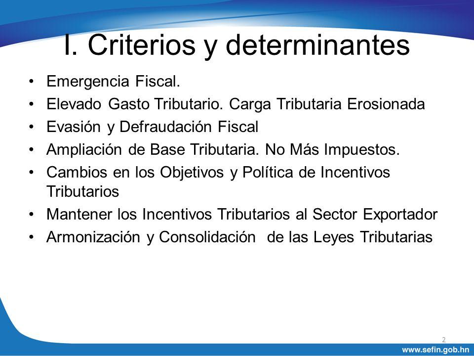 I. Criterios y determinantes