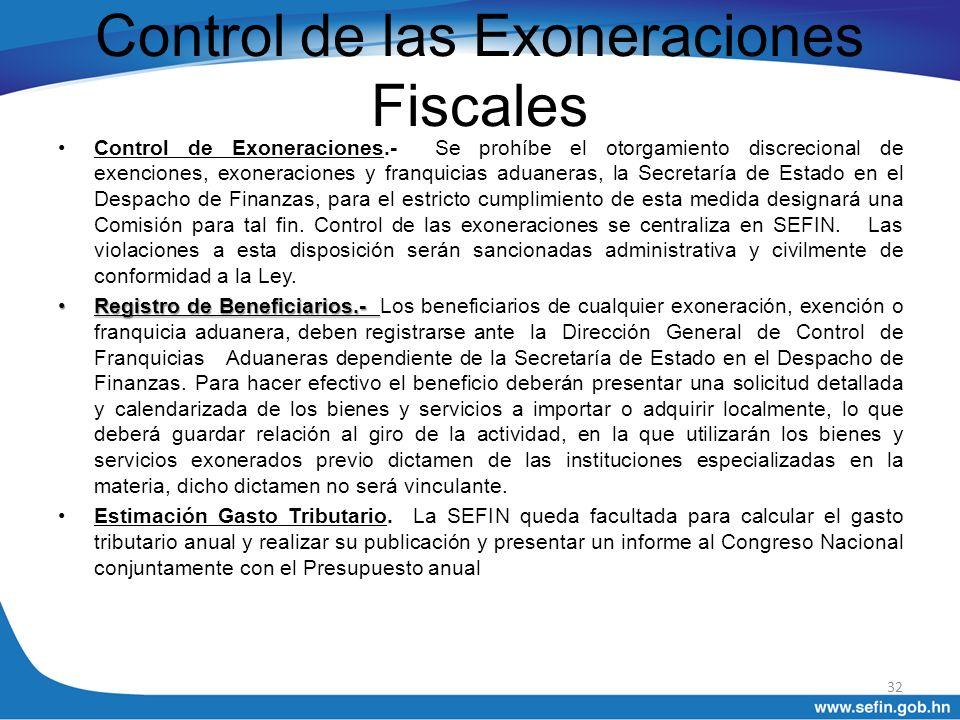 Control de las Exoneraciones Fiscales
