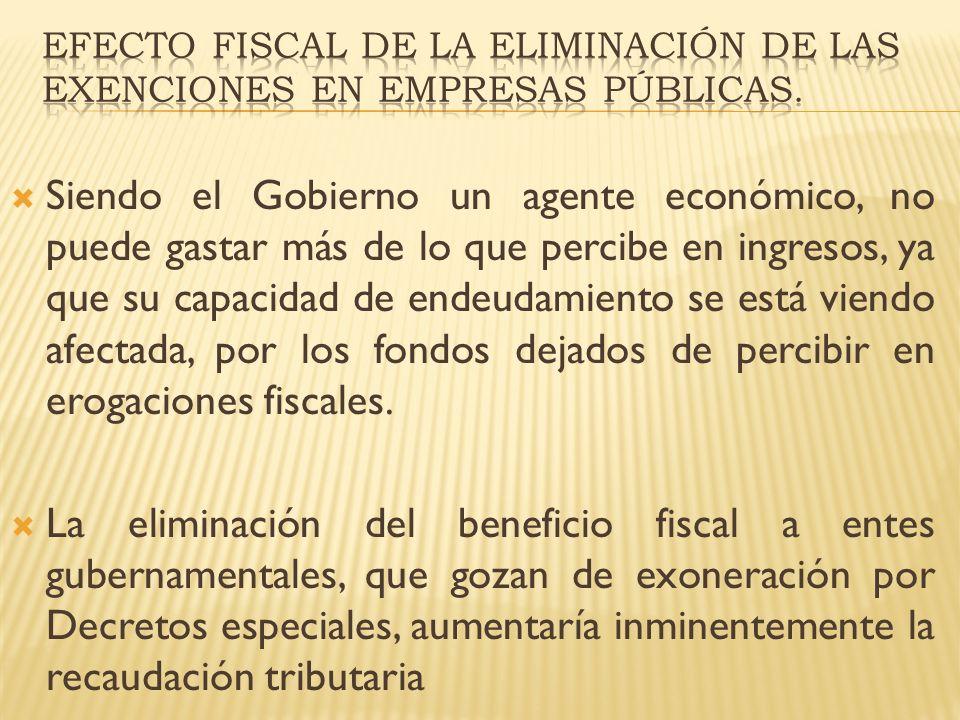 EFECTO FISCAL DE LA ELIMINACIÓN DE LAS EXENCIONES EN EMPRESAS PÚBLICAS.