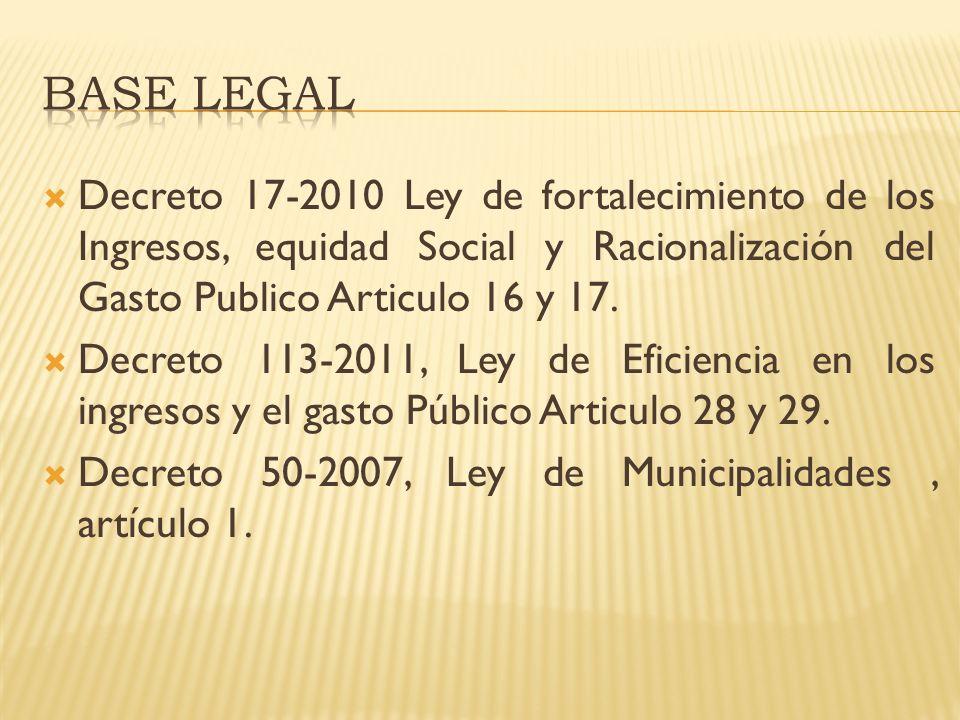 BASE LEGAL Decreto 17-2010 Ley de fortalecimiento de los Ingresos, equidad Social y Racionalización del Gasto Publico Articulo 16 y 17.