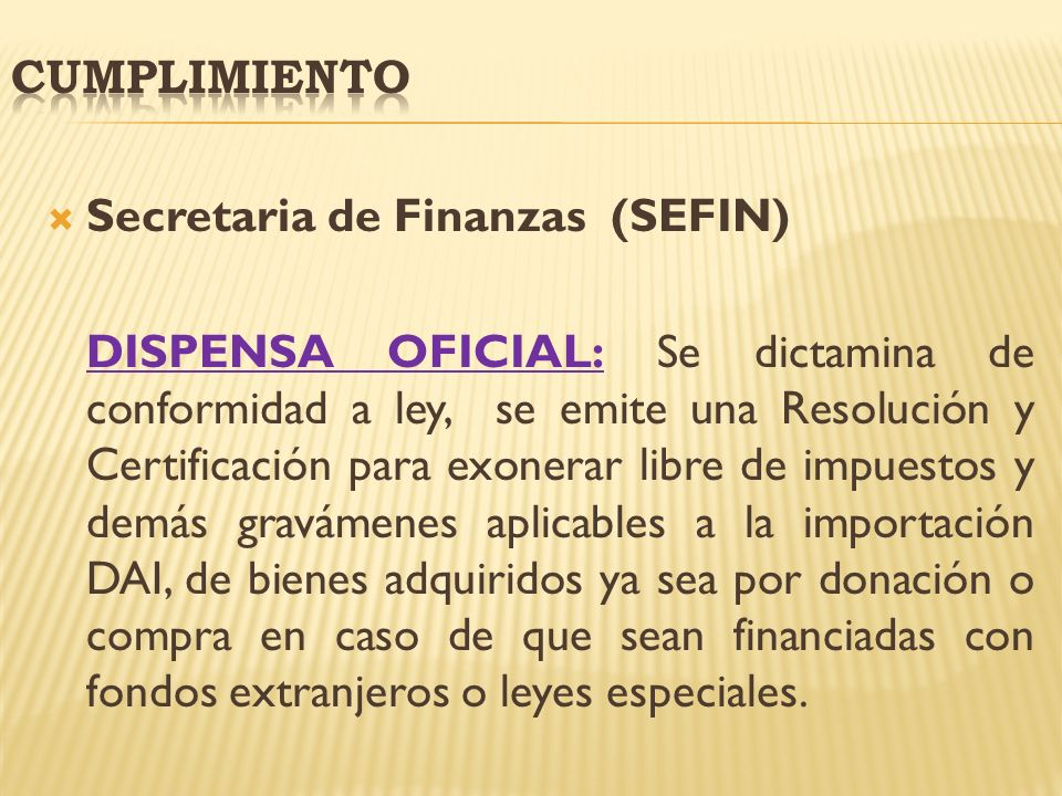Cumplimiento Secretaria de Finanzas (SEFIN)