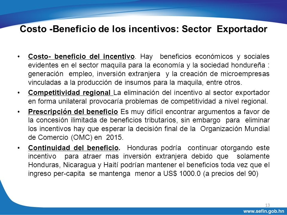 Costo -Beneficio de los incentivos: Sector Exportador