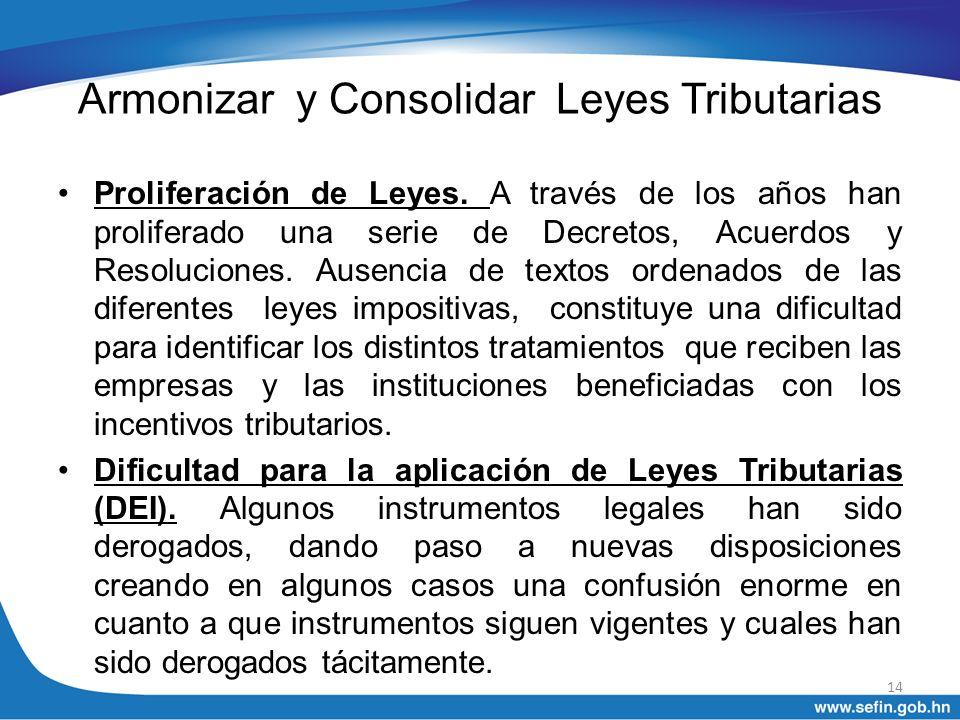 Armonizar y Consolidar Leyes Tributarias