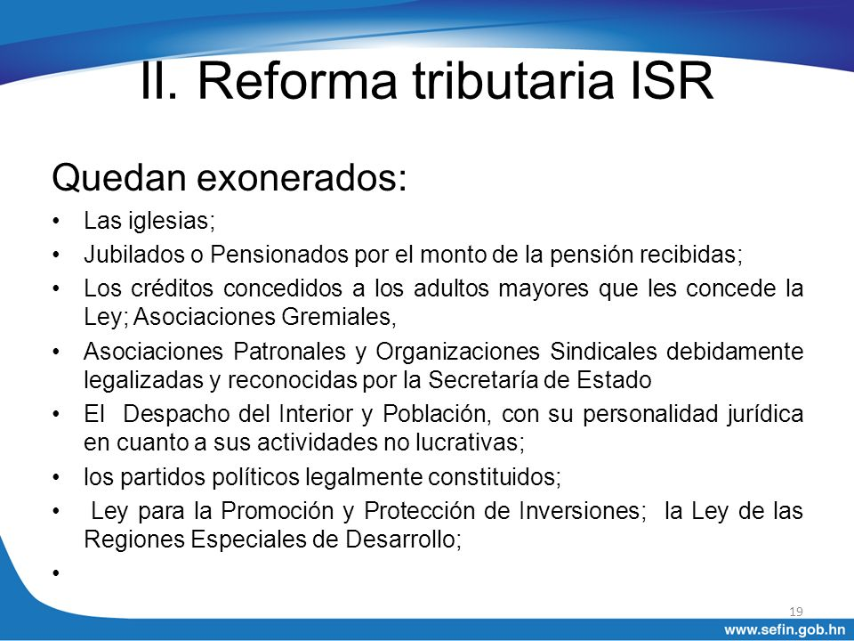 II. Reforma tributaria ISR