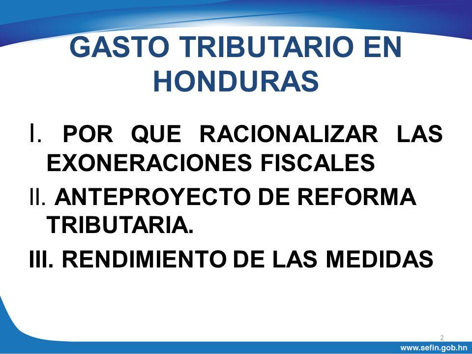 GASTO TRIBUTARIO EN HONDURAS