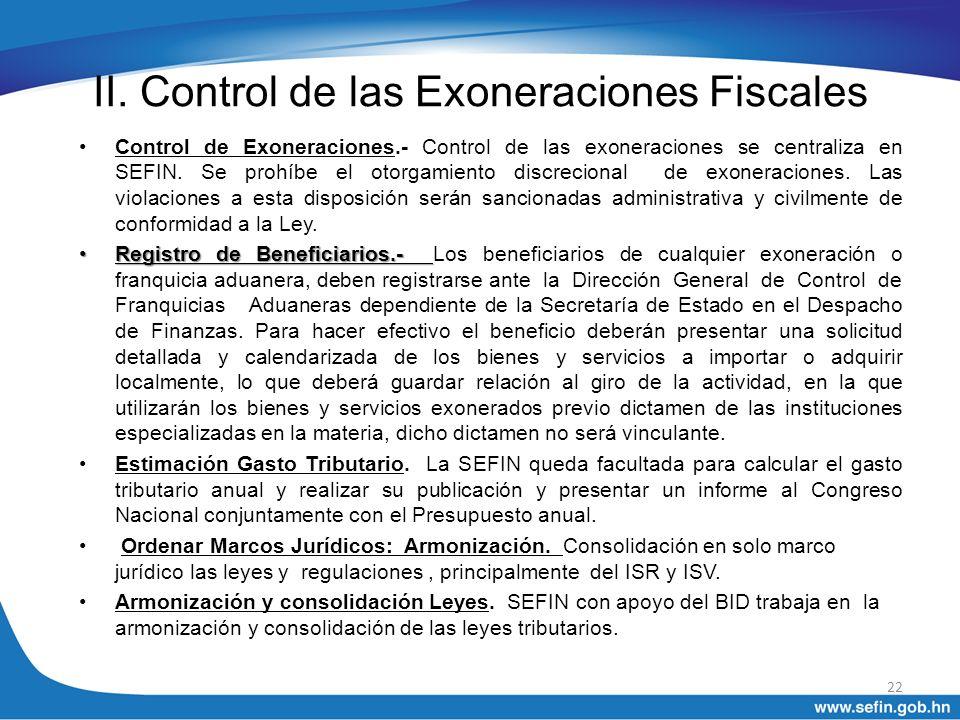 II. Control de las Exoneraciones Fiscales
