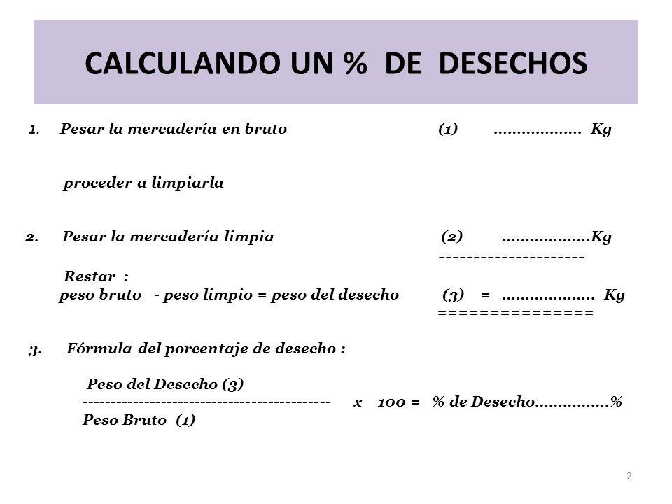 CALCULANDO UN % DE DESECHOS