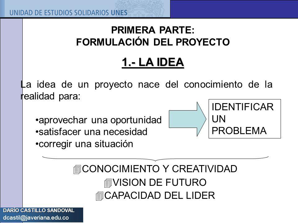 PRIMERA PARTE: FORMULACIÓN DEL PROYECTO