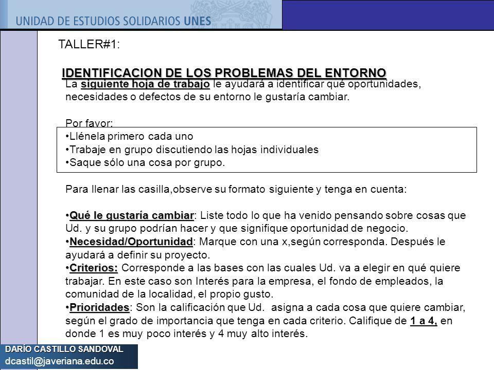 IDENTIFICACION DE LOS PROBLEMAS DEL ENTORNO