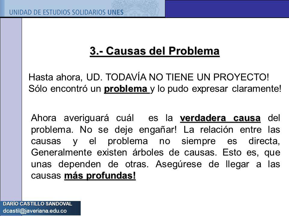 3.- Causas del Problema Hasta ahora, UD. TODAVÍA NO TIENE UN PROYECTO! Sólo encontró un problema y lo pudo expresar claramente!