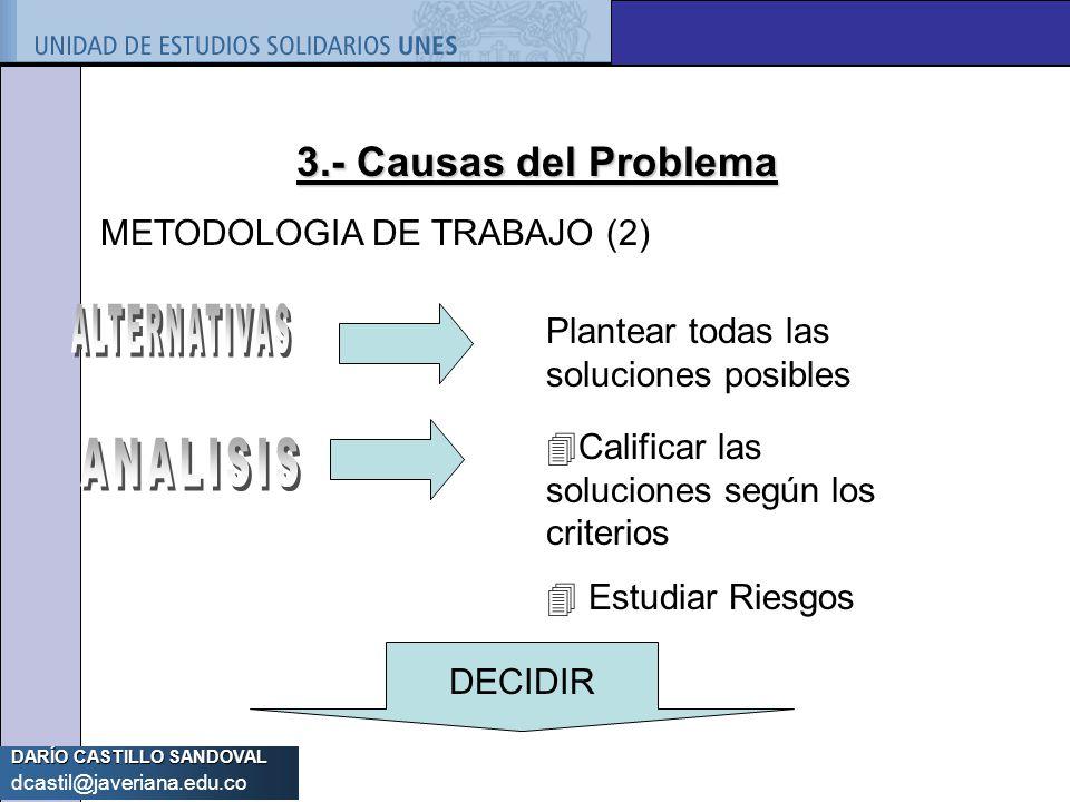 3.- Causas del Problema METODOLOGIA DE TRABAJO (2) ALTERNATIVAS
