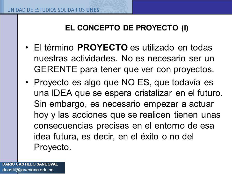 EL CONCEPTO DE PROYECTO (I)