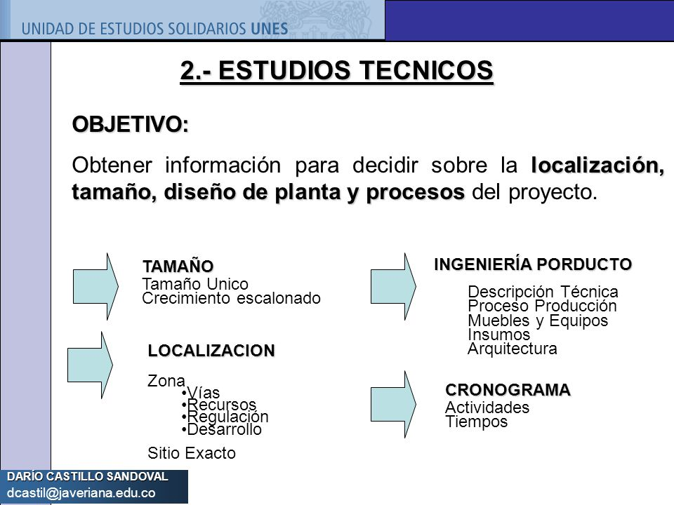 2.- ESTUDIOS TECNICOS OBJETIVO: