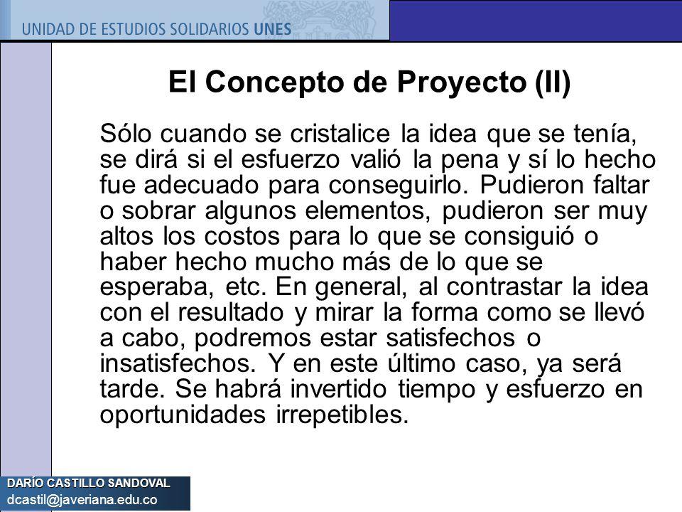 El Concepto de Proyecto (II)