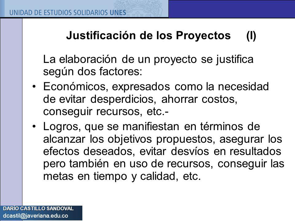 Justificación de los Proyectos (I)