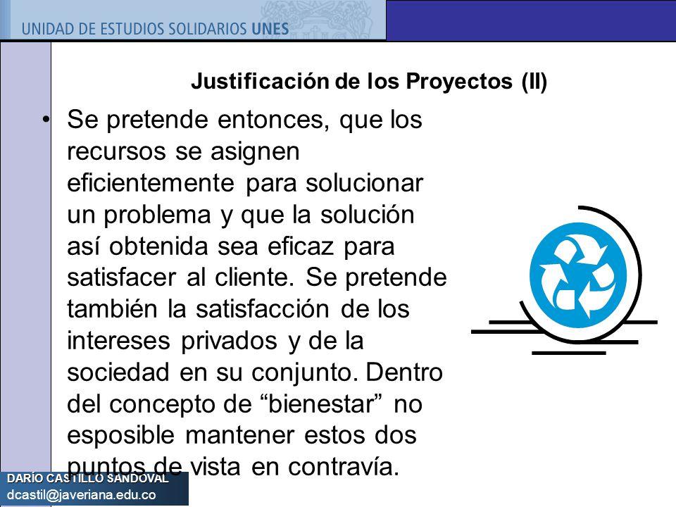 Justificación de los Proyectos (II)