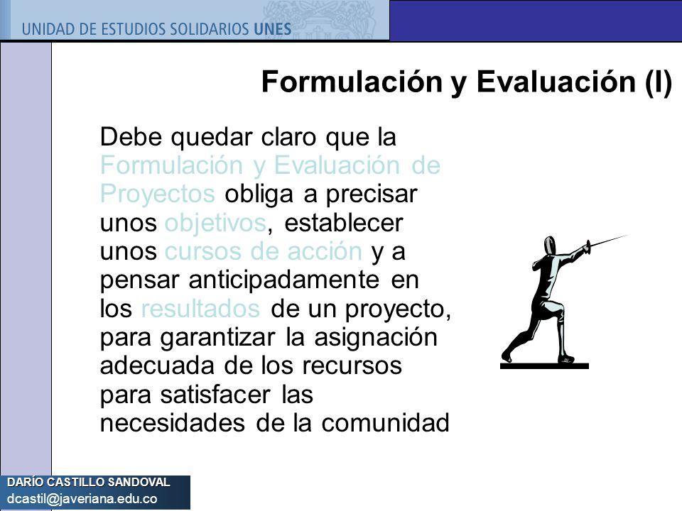 Formulación y Evaluación (I)