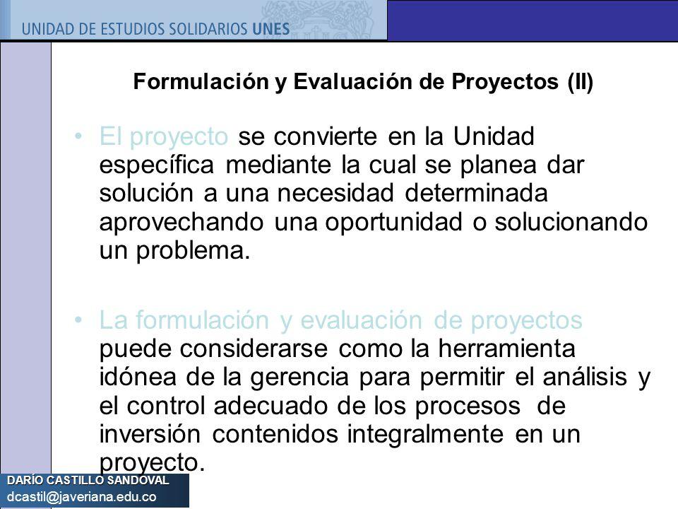 Formulación y Evaluación de Proyectos (II)