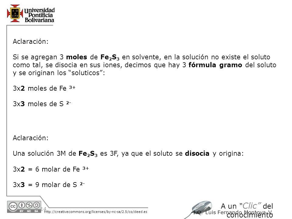 Aclaración: Si se agregan 3 moles de Fe2S3 en solvente, en la solución no existe el soluto.