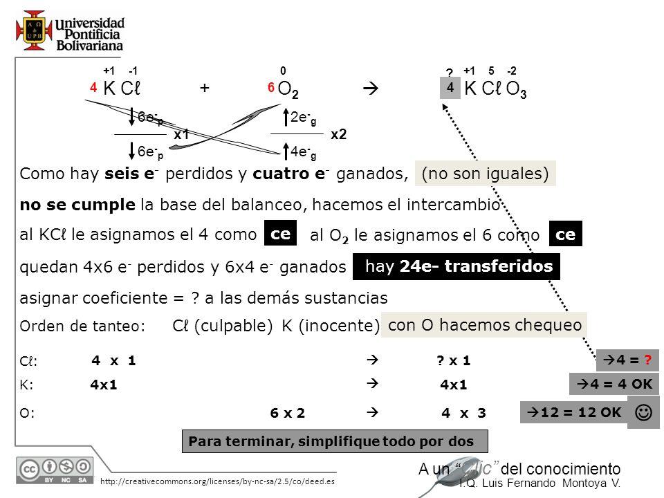  K Cℓ + O2  K Cℓ O3 Como hay seis e- perdidos y cuatro e- ganados,