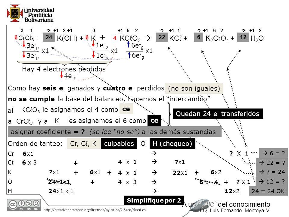 + K(OH) + K KCℓO3  KCℓ + K2CrO4 + H2O CrCℓ3 + 3e-p 1e-p 6e-g x1 x1 x1