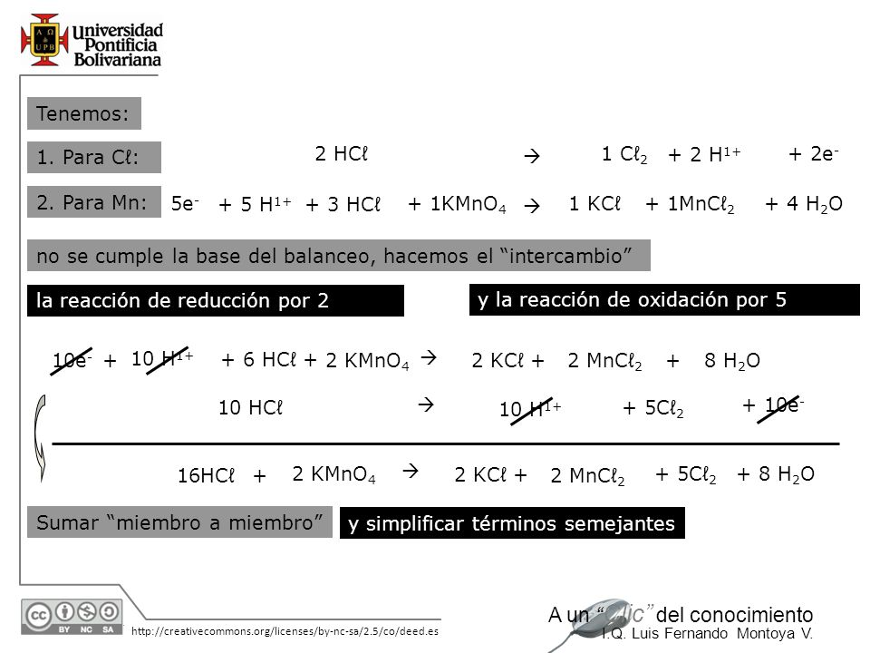 Tenemos: 1. Para Cℓ: 2 HCℓ.  1 Cℓ2. + 2 H1+ + 2e- 2. Para Mn: 5e- + 5 H1+ + 3 HCℓ. + 1KMnO4.