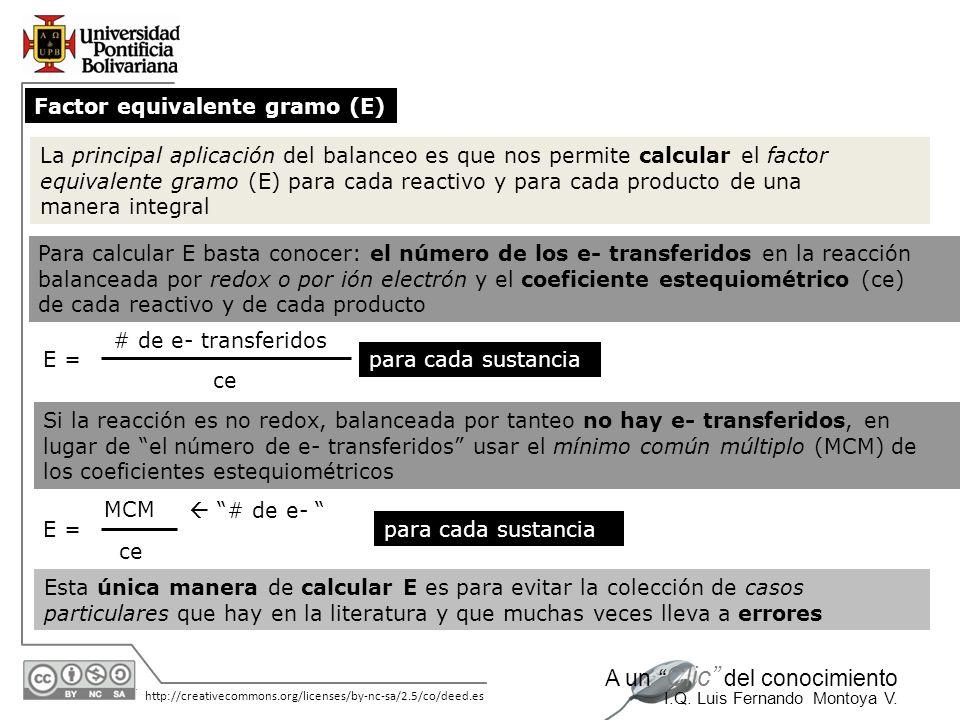 Factor equivalente gramo (E)