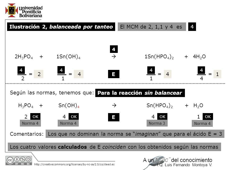 Ilustración 2, balanceada por tanteo El MCM de 2, 1,1 y 4 es 4 2H3PO4