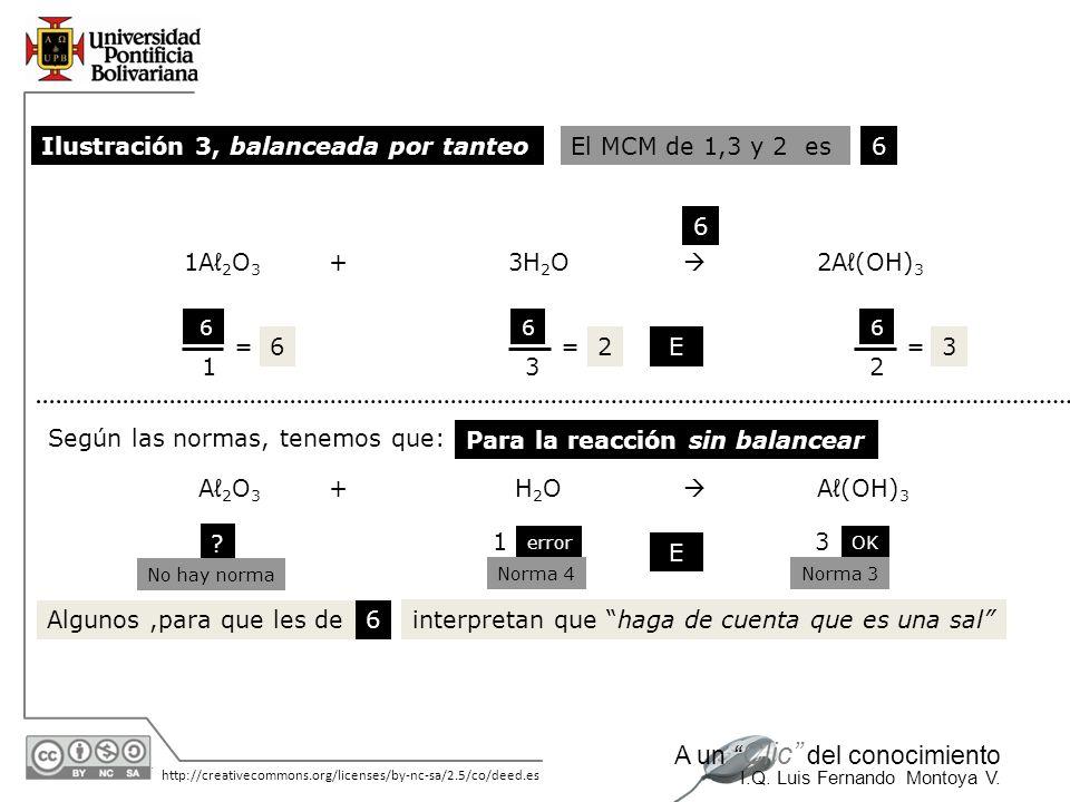 Ilustración 3, balanceada por tanteo El MCM de 1,3 y 2 es 6