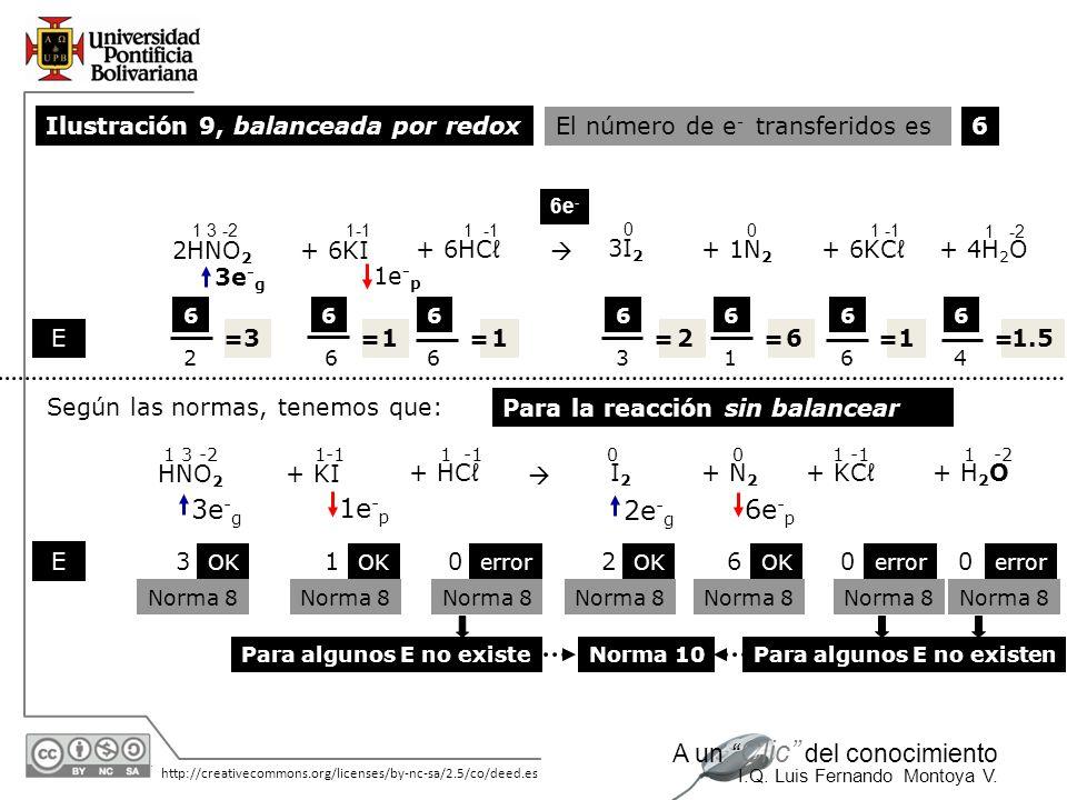 3e-g 1e-p 2e-g 6e-p Ilustración 9, balanceada por redox