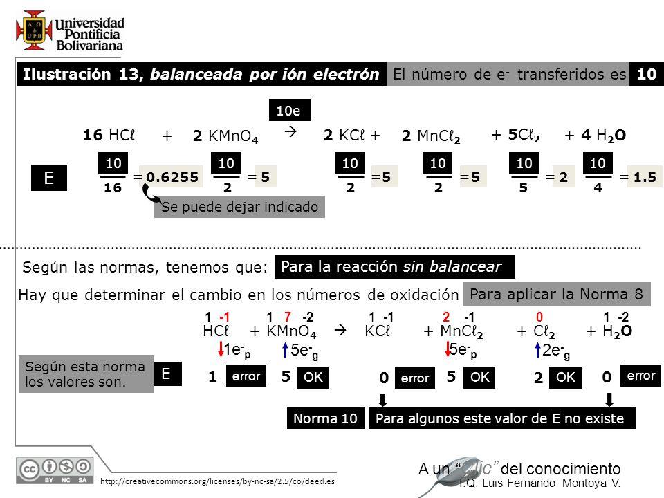 E 1e-p 5e-g 5e-p 2e-g Ilustración 13, balanceada por ión electrón