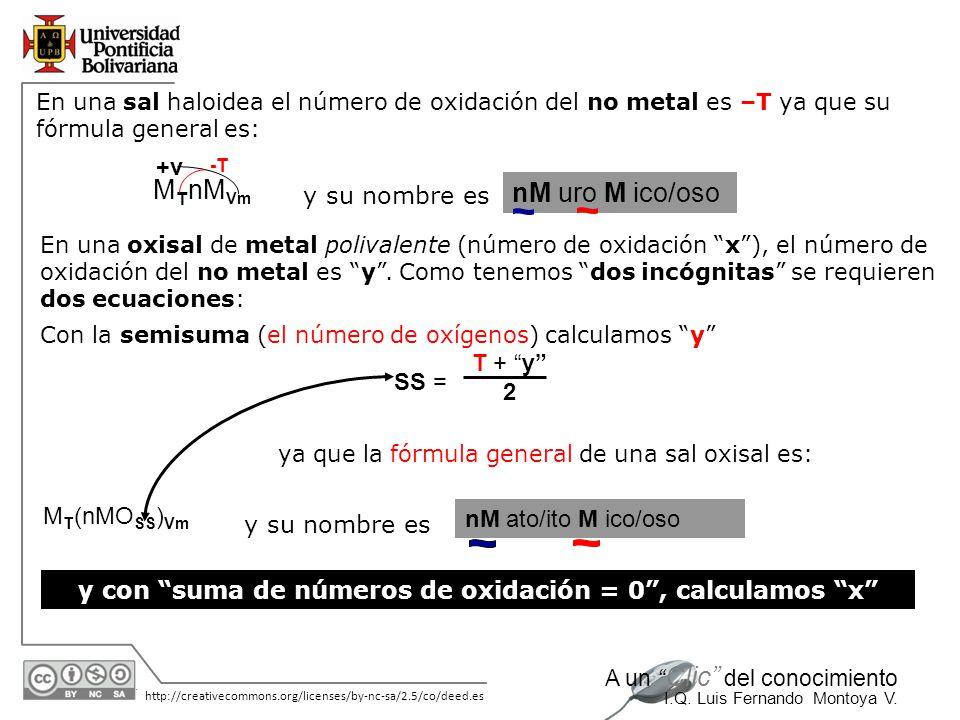 y con suma de números de oxidación = 0 , calculamos x