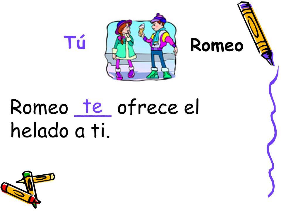 Romeo ___ ofrece el helado a ti. te