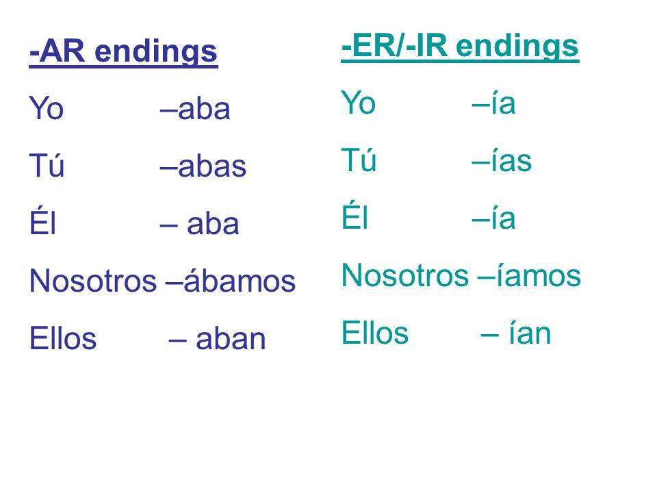 -ER/-IR endings Yo –ía. Tú –ías. Él –ía. Nosotros –íamos. Ellos – ían. -AR endings. Yo –aba.