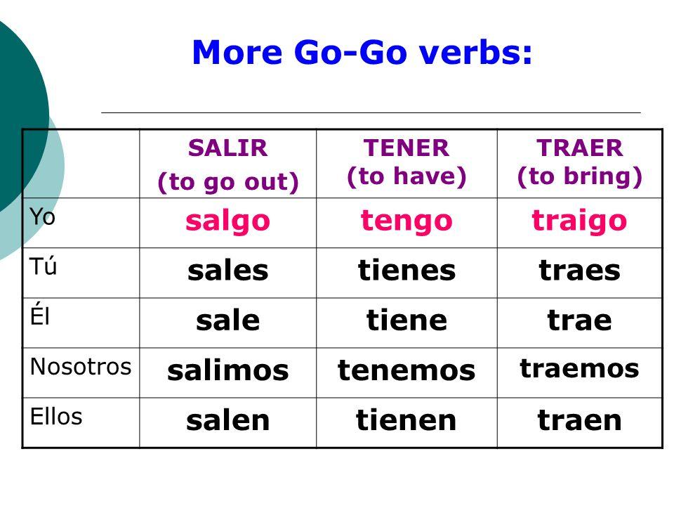 More Go-Go verbs: salgo tengo traigo sales tienes traes sale tiene