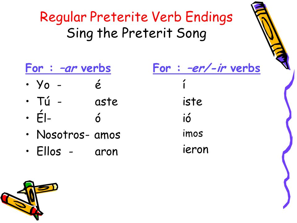 Regular Preterite Verb Endings Sing the Preterit Song