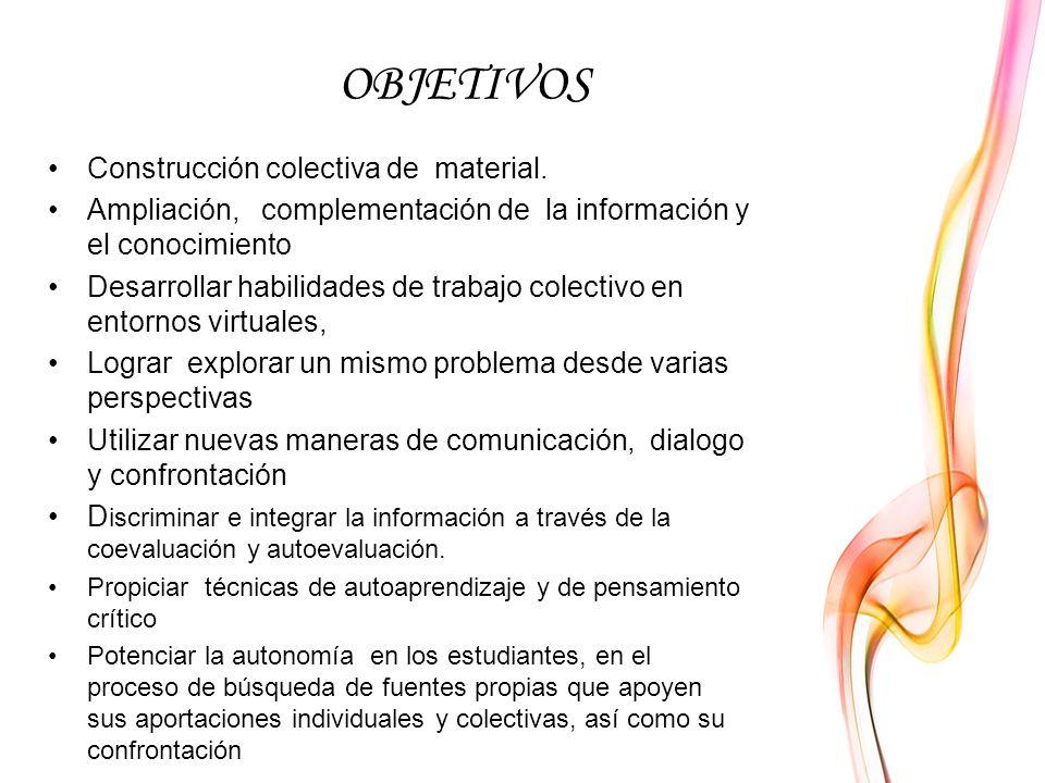 OBJETIVOS Construcción colectiva de material.