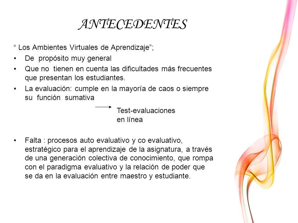 ANTECEDENTES Los Ambientes Virtuales de Aprendizaje ;