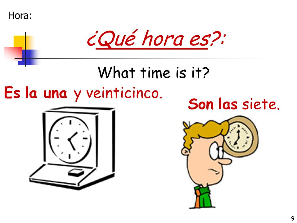 ¿Qué hora es : What time is it Es la una y veinticinco.