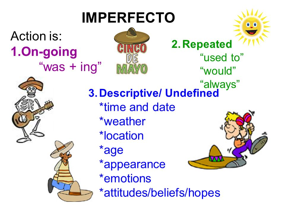 IMPERFECTO Action is: On-going was + ing *weather *location *age