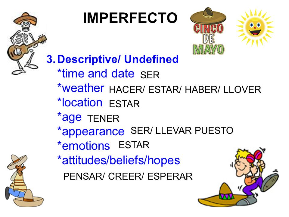 IMPERFECTO *weather *location *age *appearance *emotions