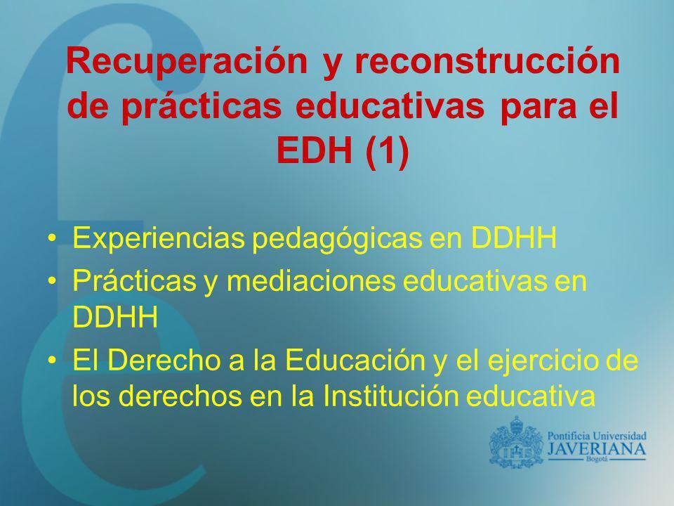 Recuperación y reconstrucción de prácticas educativas para el EDH (1)