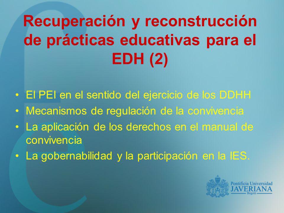 Recuperación y reconstrucción de prácticas educativas para el EDH (2)