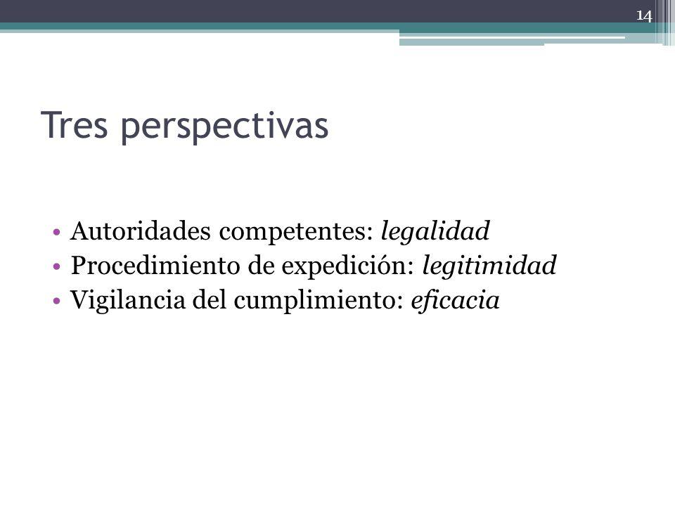 Tres perspectivas Autoridades competentes: legalidad